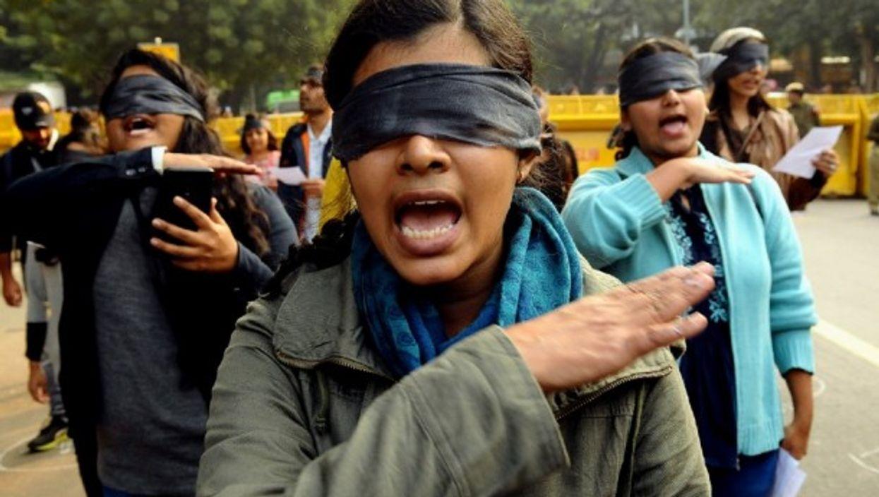 Women's rights activists during a protest in New Delhi, India, Dec. 7 2019.