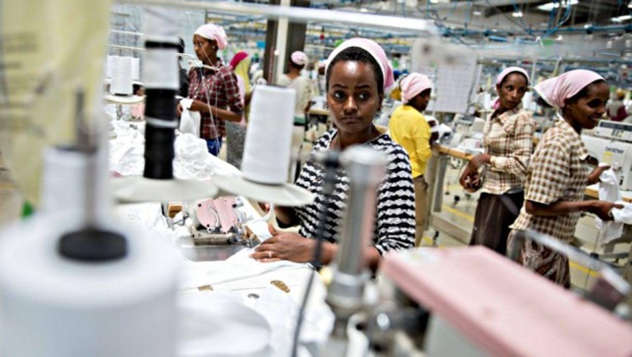 Women workers sowing children's underwear at a modern textile factory in Addis Abeba, Ethiopia