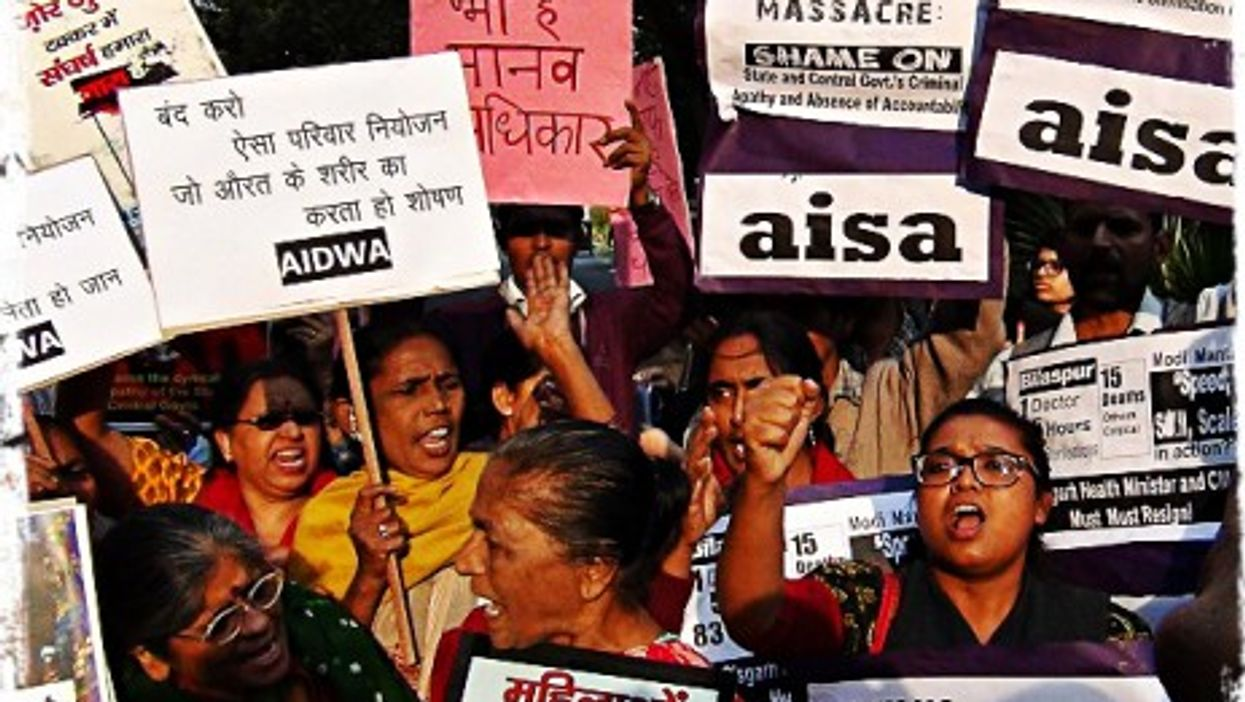 Womens Groups Protest in New Delhi against sterilization camps.