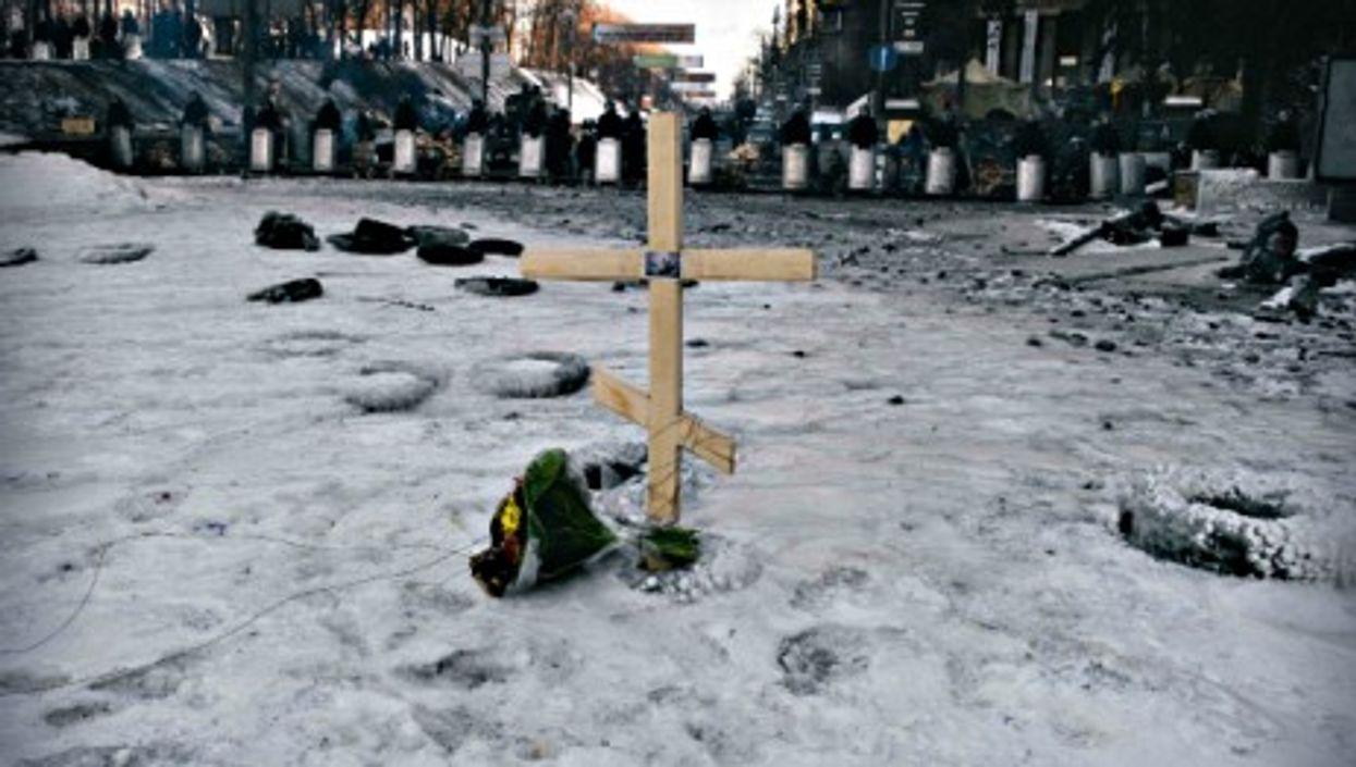 Wooden cross in Kiev