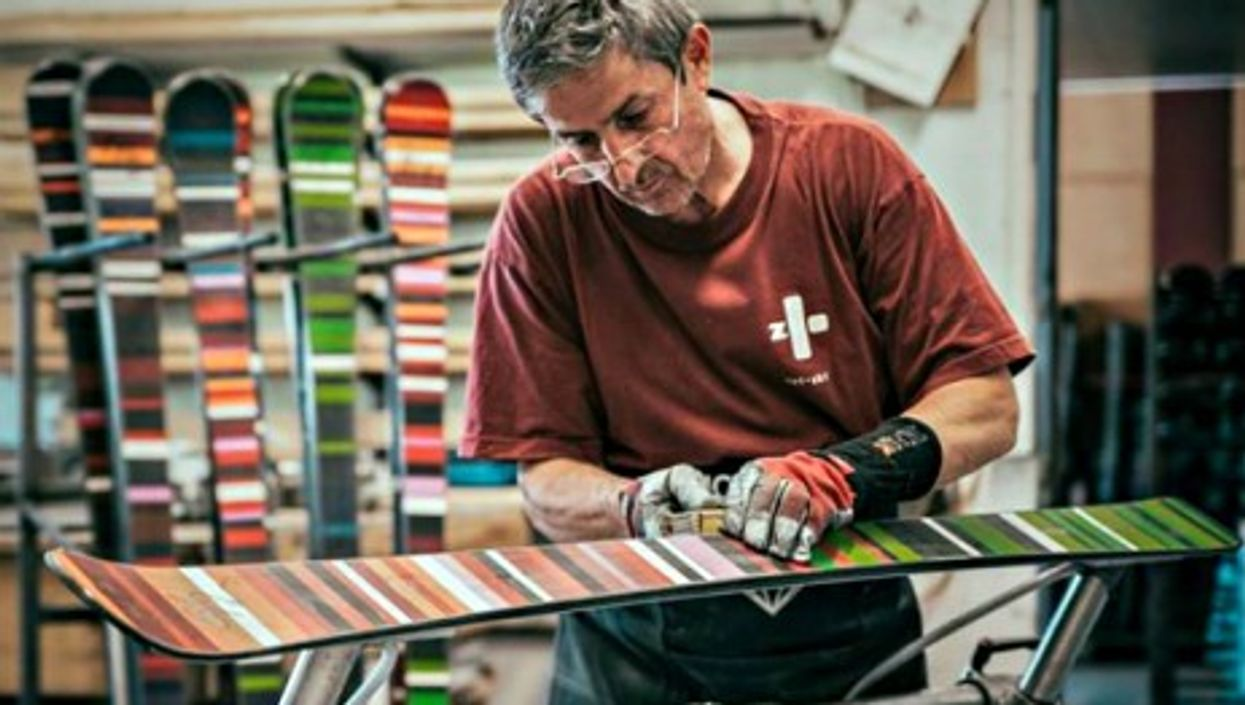 Worker manufacturing skis at the Zai factory in Disentis