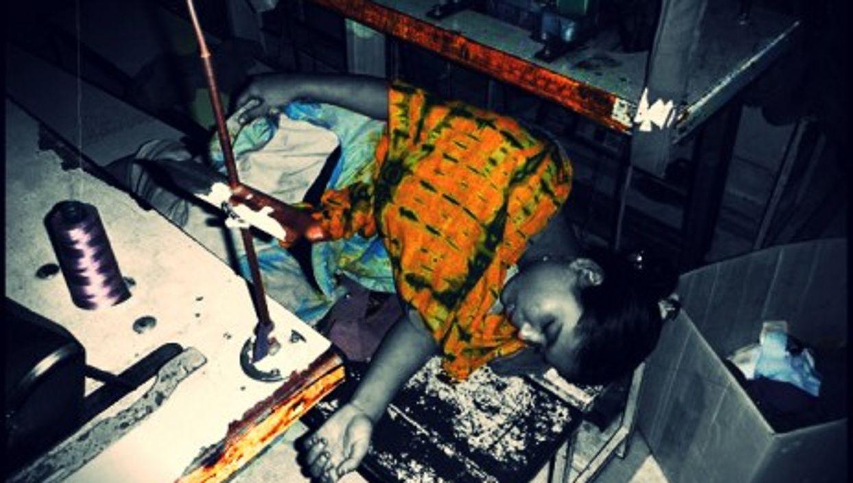Worker sleeping in a garment factory in Dhaka