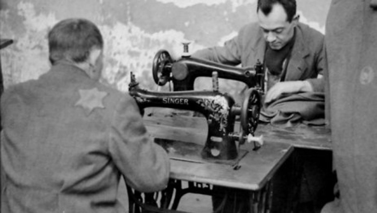 Workers in one of the clothing workshops in the Lodz ghetto