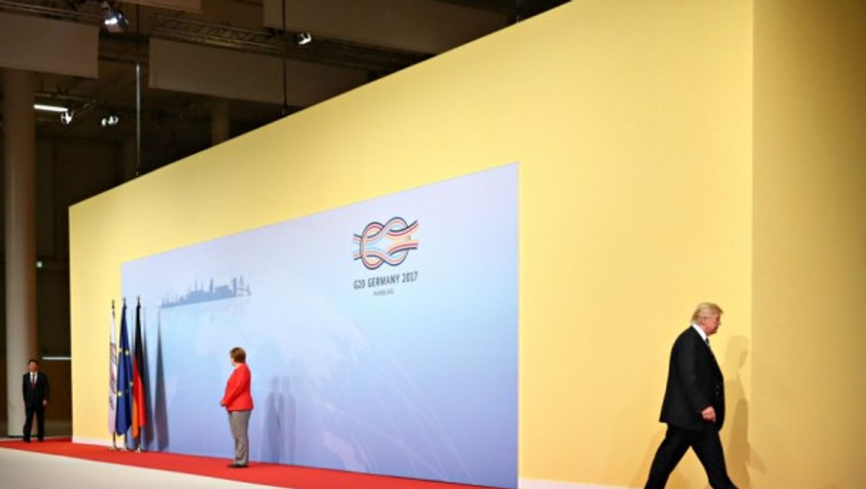 Xi, Merkel and Trump at the G20 in Hamburg on July 7