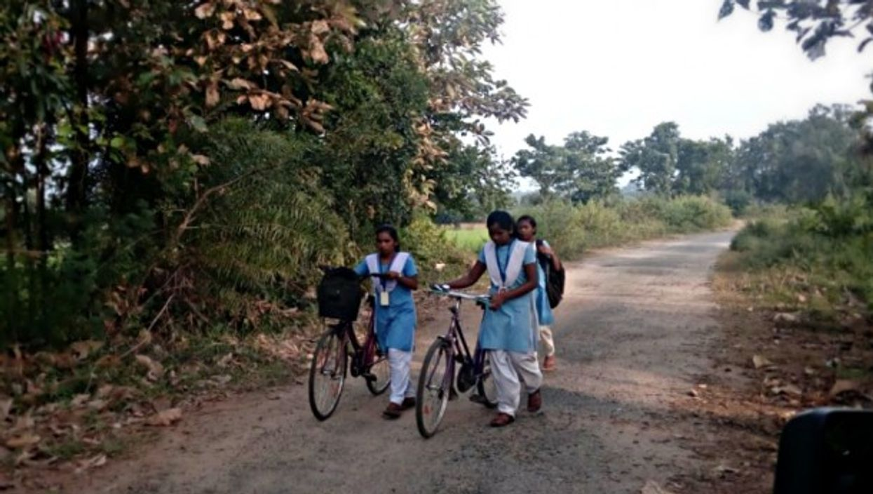 Young girls returning from school near Singari village