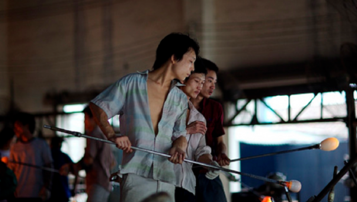 Young workers in a factory near Guangzhou, in a 2010 photo (Lyle Vincent)
