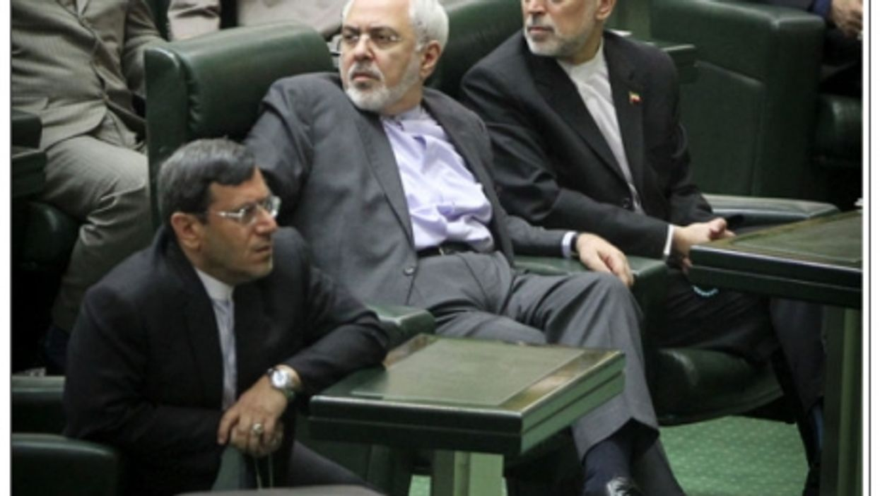 Zarif during Iranian parliament debate of the nuclear agreement with the West.